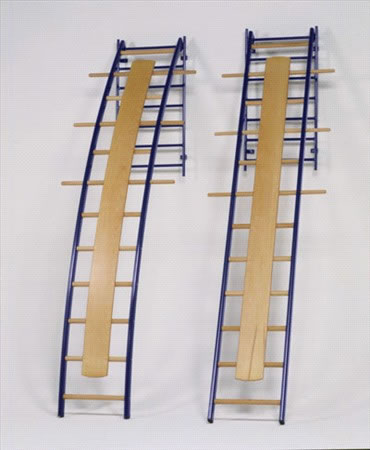 Wall Mounted Straight Ladder Steel Columns And Wooden